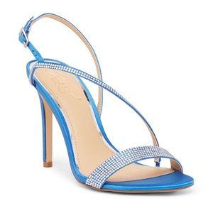 Jewel Badgley Mischa Blue Satin Heel Sandals